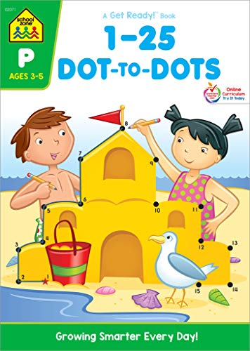 School Zone - Numbers 1-25 Dot-to-Dots Workbook - Ages 3 to 5, Preschool to Kindergarten, Connect the Dots, Numbers, Numerical Order, Counting, and More (School Zone Get Ready!TM Book - Beginning Activities