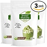 Japanese Sweet Matcha (3x16oz) Green Tea Powder Mix- Made with 100% Organic Matcha - Perfect for Making Green Tea Latte or Frappe - 90 Servings