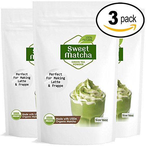 Japanese Sweet Matcha (3x16oz) Green Tea Powder Mix- Made with 100% Organic Matcha - Perfect for Making Green Tea Latte or Frappe - 90 Servings by Matchaccino