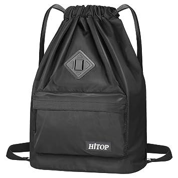 HITOP - Bolsa deportiva de cordón, ligera, unisex; mochila saco, mochila para hombre y mujer.