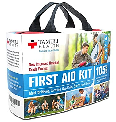Tamuli Health First Aid Kit (105-Piece) – Fully Stocked Medical Supplies and Emergency Survival Bag for Car Travel, Hiking, Camping, Sports & Home – Hospital-Grade