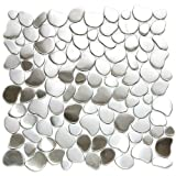 River Rock Pattern Mosaic Stainless Steel Metal Tile- Kitchen Backsplash / Bathroom Wall / Home Decor / Fireplace Surround