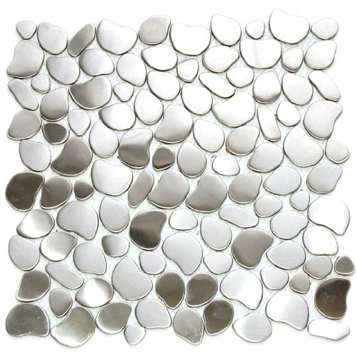 (River Rock Pattern Mosaic Stainless Steel Metal Tile- Kitchen Backsplash / Bathroom Wall / Home Decor / Fireplace Surround)
