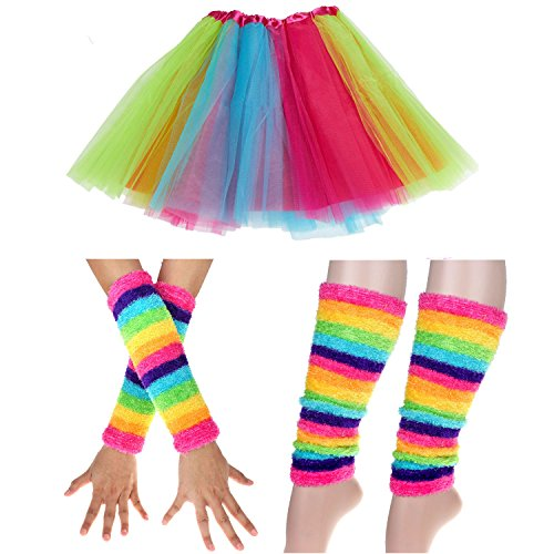 Japanese Themed Costumes (Adult Rainbow Costume Sets Wave Wig Long Gloves Stockings Tail Tutu Skirt Floral Headband (H))