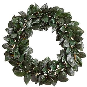 """36"""" Magnolia Leaf Silk Hanging Wreath -Green 87"""