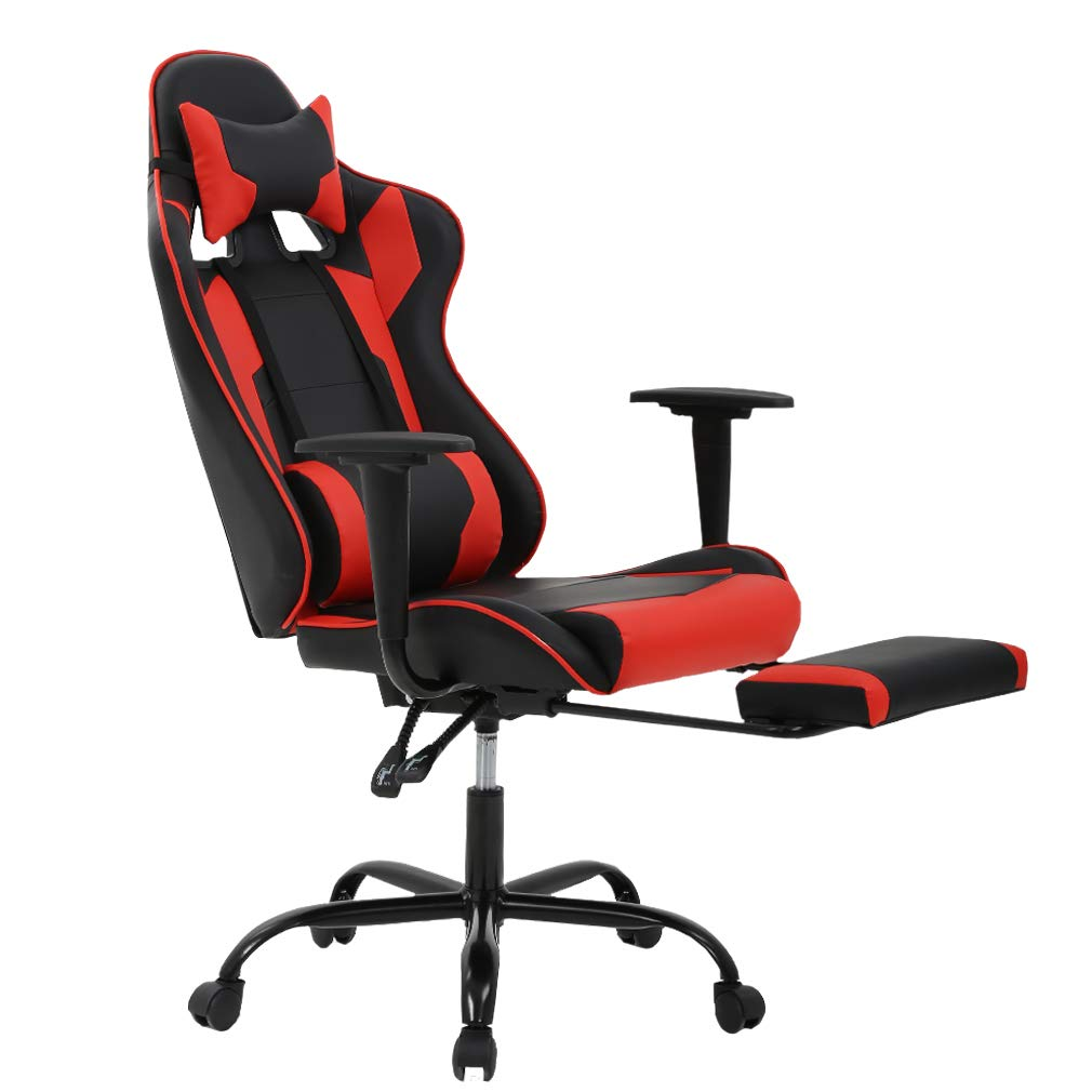 Gaming Chair Ergonomic Swivel Chair High Back Racing Chair, with Footrest, Lumbar Support and Headrest