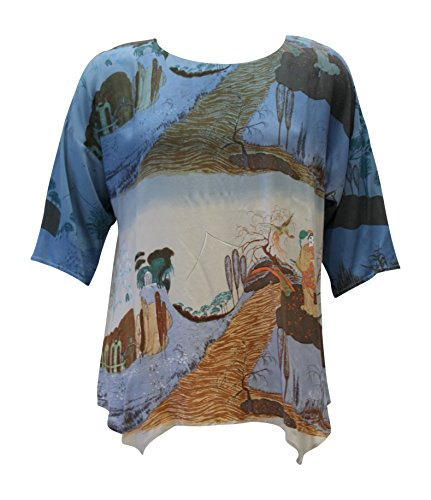Citron Tunic - Citron Women's Kyoko's Crane Bridge hand Dipped Blue Tunic Top (Large)