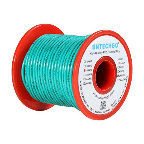 BNTECHGO 20 AWG 1007 Electric Wire 20 Gauge PVC 1007 Wire Stranded Wire Hook Up Wire 300V Stranded Tinned Copper Wire Green 100 ft Per Reel for DIY