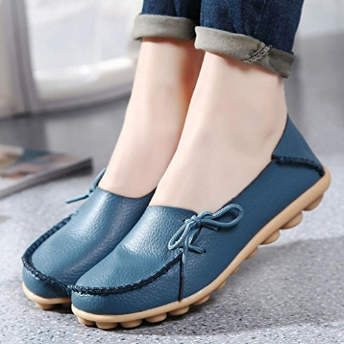 Transer Soft Ladies Leisure Flats Shoes, Women Slip on Casual Work Loafers,Comfortable Leather Lazy Shoes Blue