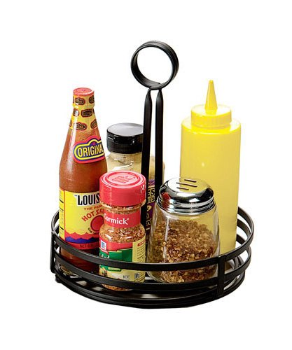 American Metalcraft FWC89 Round Wrought Iron Condiment Rack Basket with Display Handle, 8-Inch, Black Condiment Basket