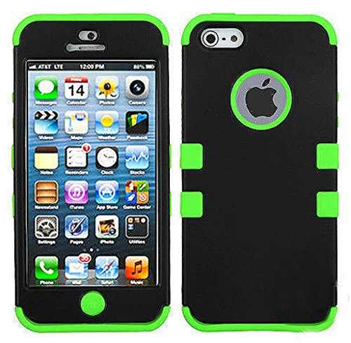 myLife Spring Green and Black - Colorful Robot Series (Neo Hypergrip Flex Gel) 3 Piece Case for iPhone 5/5S (5G) 5th Generation Smartphone by Apple (External 2 Piece Fitted On Hard Rubberized Plates + Internal Soft Silicone Easy Grip Bumper Gel)
