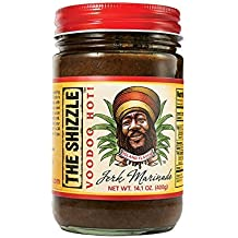 The Shizzle VooDoo Hot Jerk Seasoning Marinade (Single) – 14 Ounce Jar – Authentic Island Flavor w/Pineapple Base – Spicy Rub – Sauce for Chicken, Pork, Etc