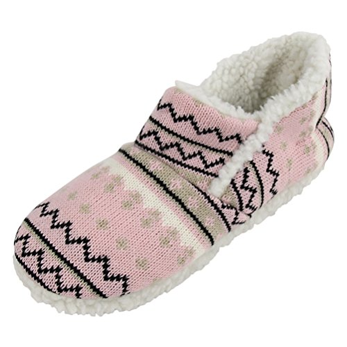 Detailed Clogs - Gohom Womens Faux Fur Lined Plush Clog Slipper with Detailed Stitching Pink Size XL