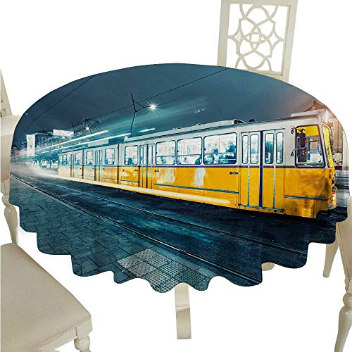 Yellow and Blue Washable Table Cloth Old Tram in The City Center Vintage Urban Train Station European Town Image Washable Polyester - Great for Buffet Table, Parties, Holiday Dinner, Wedding & More D ()