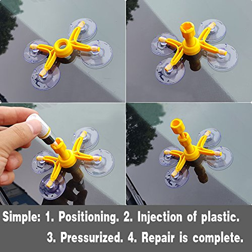 Woworld Car Windshield Glass Repair Kit Fix Cracks,Chips,Bull's Eyes and Starts DIY Repair Tool Set by Woworld (Image #5)