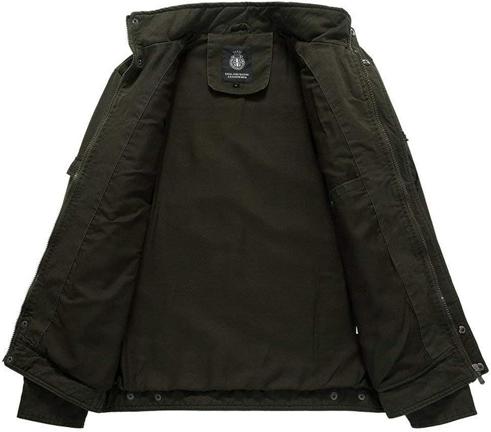 Hommes Veste Homme Militaire Parka Pilote Veste Col Manteau Manteau d'hiver Montant Chic Manches Longues avec Zipper Vestes Outwear Kaki