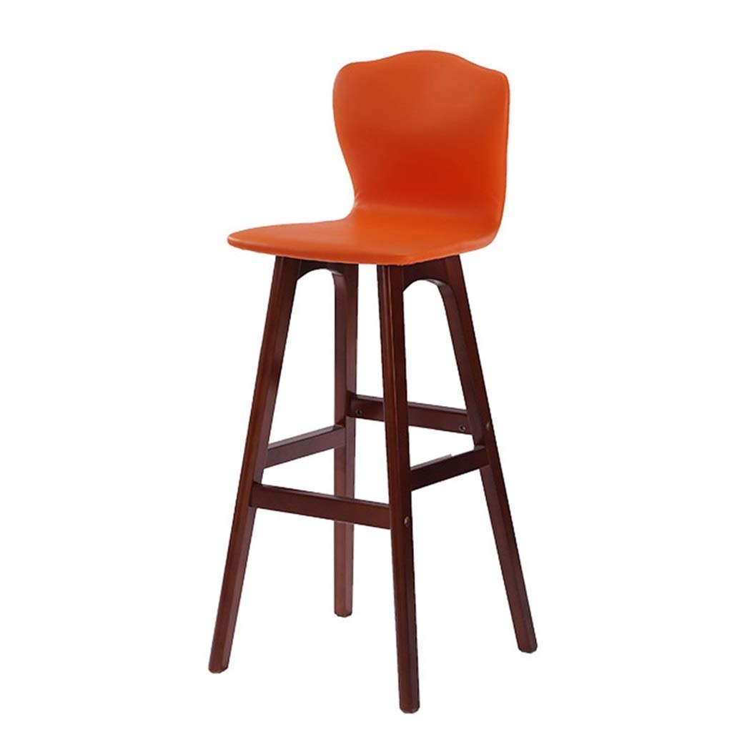 orange Home Furniture Bar Chair Modern Style Bar High Stool Counter Chair Kitchen Breakfast Barstool with Wooden Legs LEBAO (color   orange)
