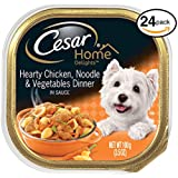 Cesar HOME DELIGHTS Wet Dog Food Hearty Chicken, Noodle and Vegetable Dinner, (Pack of 24) 3.5 oz. Trays