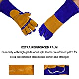 NKTM Leather Welding Gloves EXTREME HEAT RESISTANT & WEAR RESISTANT - For Tig Welders/Mig/Fireplace/Stove/BBQ/Gardening, Blue / Gray - 16In