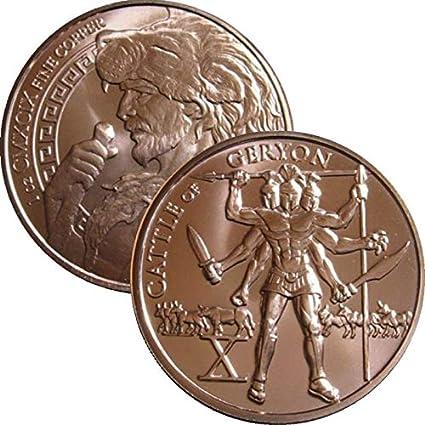 12 Labors of Hercules Series 1 oz .999 Pure Copper BU Round