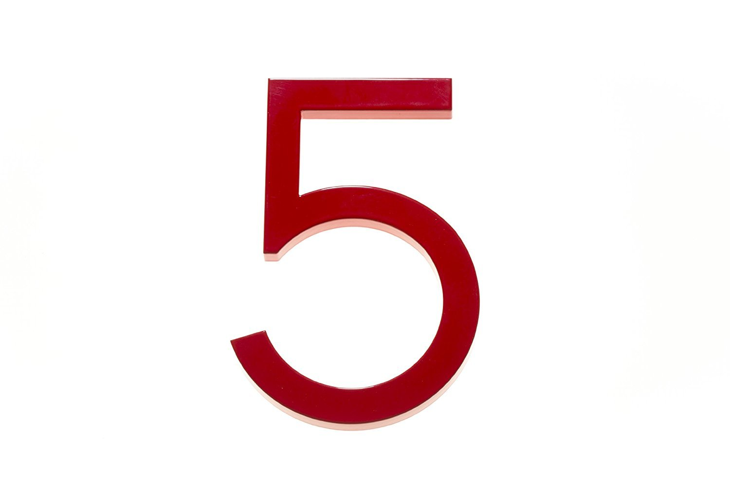 Amazon com modern house number red color aluminum modern font number five 5 6 inch address plaques garden outdoor