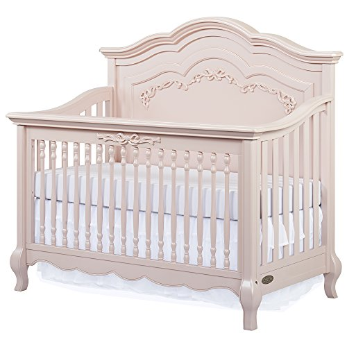 Evolur Aurora 5-in-1 Convertible Crib, Blush Pink Pearl (Child Of Mine Crib And Changing Table Combo)