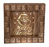 Santa Claus 24 Day Advent Calendar | LED Lit Merry Christmas Decor Theme | Premium Holiday Decor Wooden Construction | Light Natural Wood Color | Measures 13.75'' x 13.75'' | Battery Powered