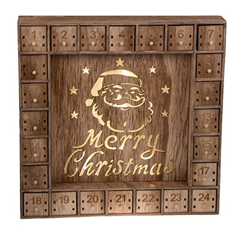 Santa Claus 24 Day Advent Calendar | LED Lit Merry Christmas Decor Theme | Premium Holiday Decor Wooden Construction | Light Natural Wood Color | Measures 13.75