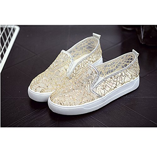 Angelliu Womens Fancy Round Toe Summer Hollow Sequins Mesh Slip On Flats Sandals Gold XVe6EM8Ug