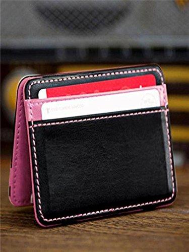 Price comparison product image LtrottedJ Mini Neutral Magic Bifold Leather Wallet Card Holder Wallet Purse Money Clip (Pink)