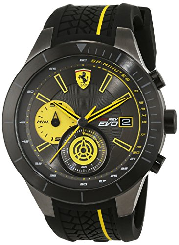 Mens Chronograph Yellow - Ferrari Red Rev Chronograph Black and Yellow Dial Men's Watch 830342