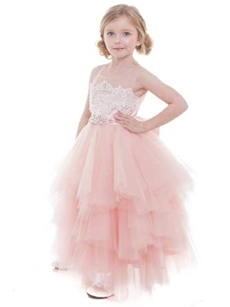 3abd7e8dd Petite Adele Big Girls Pink Beaded Applique Fancy Junior Bridesmaid Dress 8