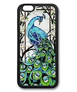 Black Case for iphone 6 Plus,Fashion Cool Art Peacock Custom Protective Soft TPU Back Case Cover for iphone 6 Plus