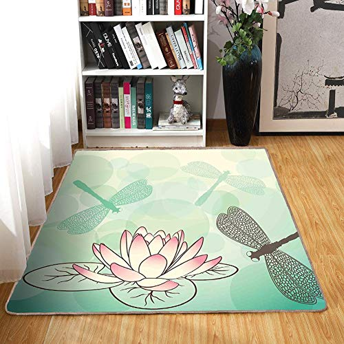 Dragonfly Petal - Rug,FloorMatRug,Lotus Flower,AreaRug,Exotic Blossom with Pinkish Petals Water Lily and Dragonflies on Pale Green,Home mat6'x7',Multicolor,RubberNonSlip,Indoor/FrontDoor/KitchenandLivingRoom/B