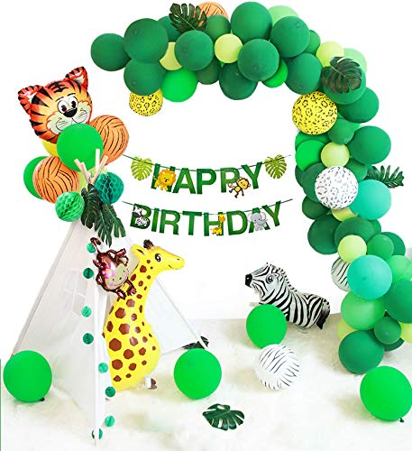 Jungle Party Decorations Balloon Garland Animal Balloons for Kids Boy or Girl 1st Birthday Baby Shower Backdrop Photo Booth Decor Supplies