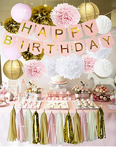 Pink and Gold Birthday Party Decorations Happy Birthday Bunting Banner Tissue Paper Pom Poms Flowers Paper Lanterns Paper Honeycomb Balls Tissue Paper Tassel Garland for Girls 1st Birthday