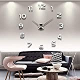 UPA VIPECHO DIY 3D Moderno Reloj de Pared Los Grandes números arábigos Murales Pegatinas Dormitorio Living House Hotel Restaurante Oficina-Plata