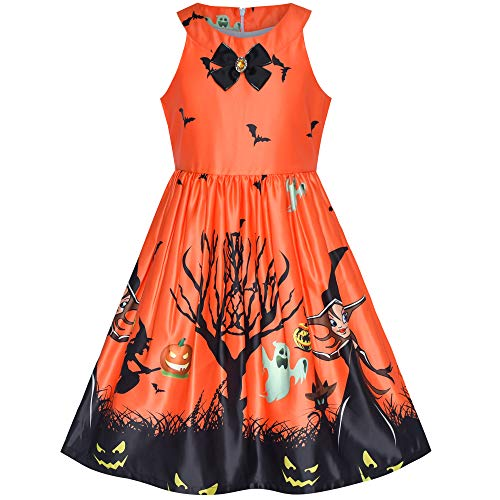 Girls Dress Orange Halloween Party Witch Bat Pumpkin Halter Dress Size 7 ()