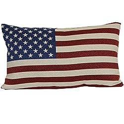 """Brentwood Originals 08415001 Indoor/Outdoor Pillow, 12"""" x 20"""", American Flag"""