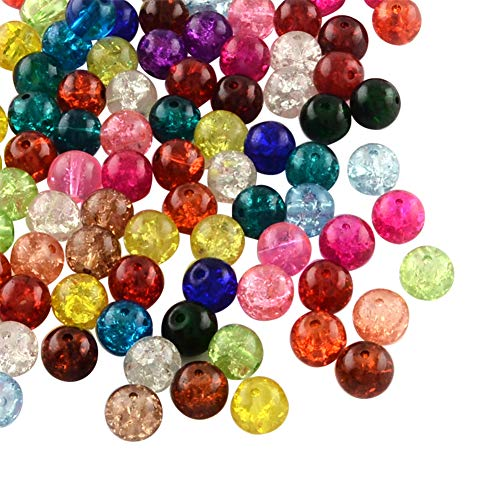 NBEADS 5 Bags(About 100pcs/bag) Random Mixed Color Transparent Crackle Glass Beads Round Split Loose Beads for Jewelry Making and Craft ()