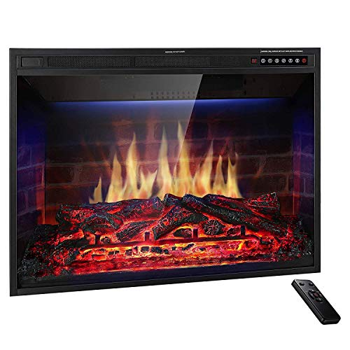 JAMFLY 28'' Electric Fireplace Insert Narrow Border Design Freestanding Heater with Multicolor Flames, Touch Screen, Timer, and Remote Control, 1500w, Black (28