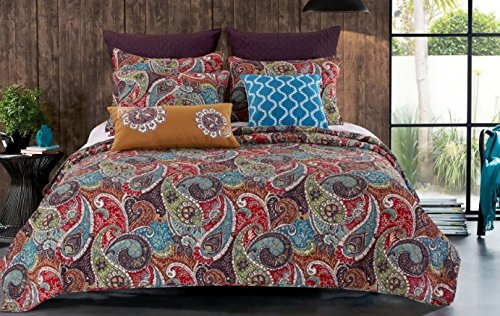 3 Piece Paisley Themed Quilt Full Queen Set, Beautiful Bohemian Stylish Bedding