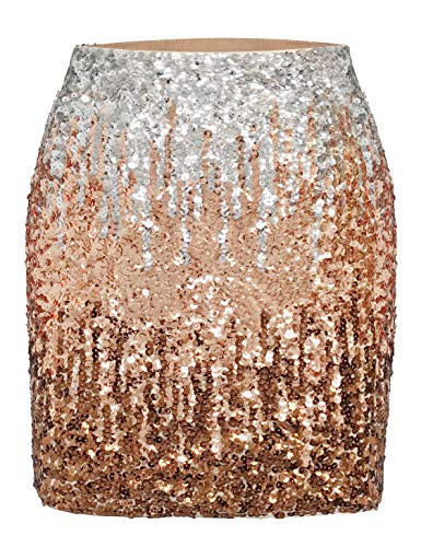 MANER Women's Sequin Skirt Sparkle Stretchy Bodycon Mini Skirts Night Out Party (XXL/US 20-22, Silver/Rose - Sparkle Skirt Mini