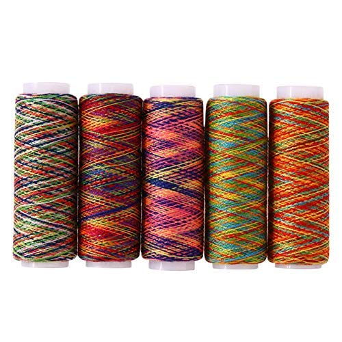 (Che-good Sewing Thread - 5pcs Rainbow Color Sewing Threads Embroidery Thread Kit Diy Quilting Yarn Craft Home - Cutter Invisible Rack Organizer Embroidery Shoes Removal Royal Dual Cotton)