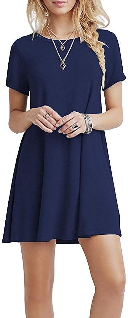 YOUCHAN Vestidos Mujer de Camiseta Suelto Casual Cuello Redondo Ocasional Sólida Mini Vestido: Amazon.es: Ropa y accesorios