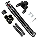 Yopoon Mini Bike Tire Pump with Gauge & Glueless Puncture Repair Kit - Fits Presta & Schrader Valve, High Pressure 160 PSI Bicycle Pump for Road and Mountain Bikes