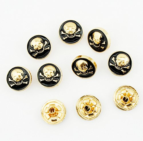 Press Studs 4-part PSGC06 Decorative Gold Black Skull Top Snap Button 12 mm - Pack of 10 Sets (Snap Black Skull)