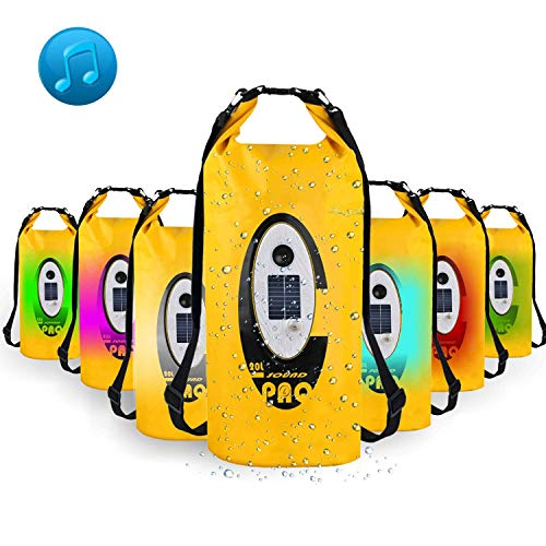Waterproof Dry Bag, Dry Bag with Bluetooth Speaker Solar Powered and USB Powered RGBW LED Light, Roll Top Sack for Kayaking, Rafting, Boating, Swimming, Camping, Hiking, Beach, Fishing (20 L)