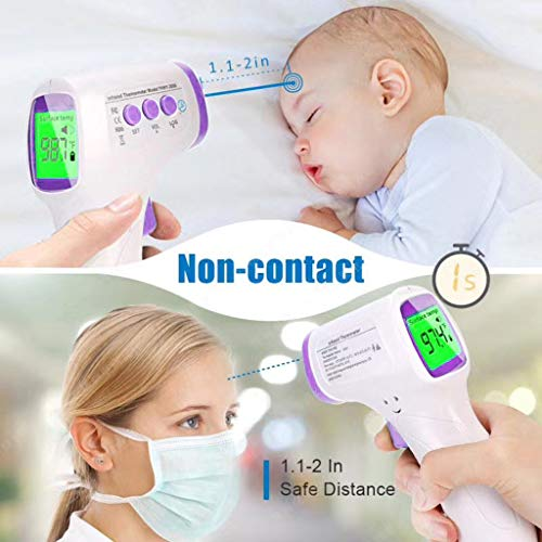 Limsea Infrared Digital Non-Contact Thermometer Gun with Three Color LCD Screen for Adult and Baby Forehead, Ear and Body Temperature with Fever Alarm and Memory Function