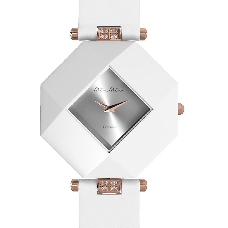 Mia-Mio Leder Weib Keramik Swiss Quartz Silber Rose Gold Saphir Kristall PRECIOSA Damen Uhr